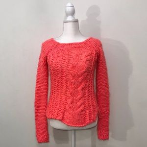 NWT Free People Highlighter Pink Knit Sweater XS
